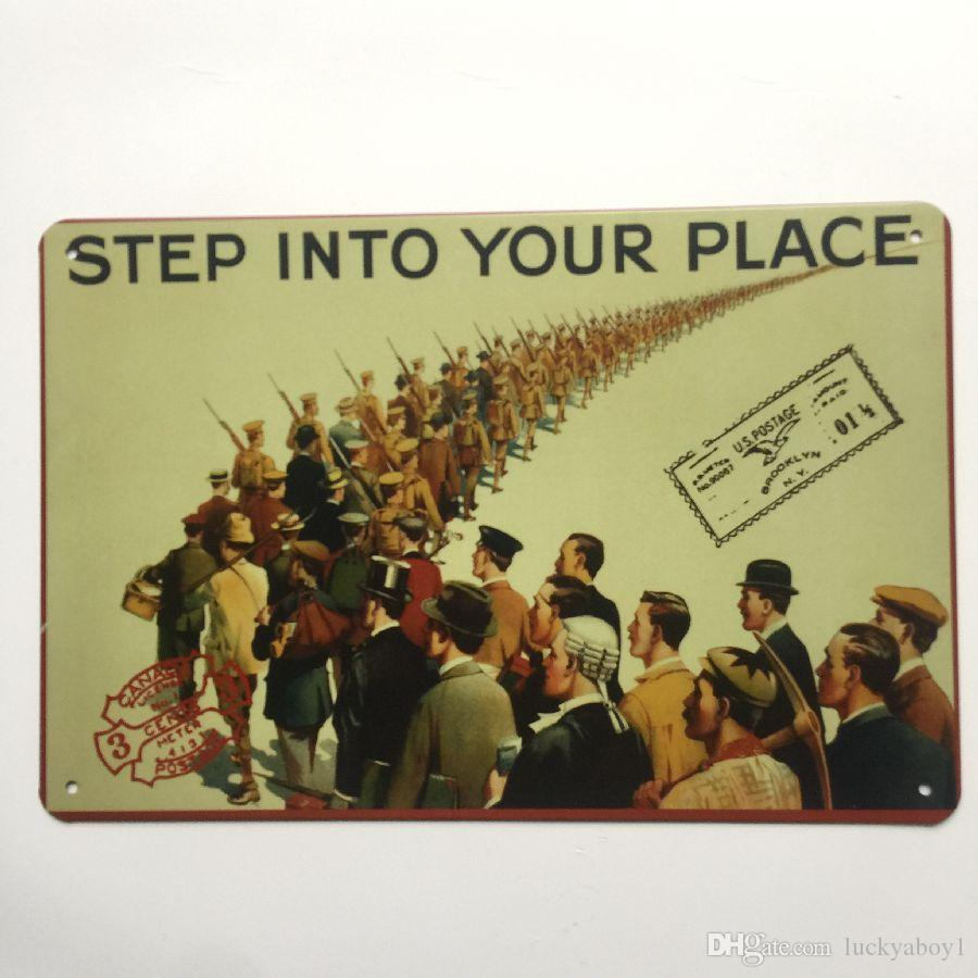 Step into your Place Retro Vintage Metal Tin sign poster for Man Cave Garage shabby chic wall sticker Cafe Bar home decor