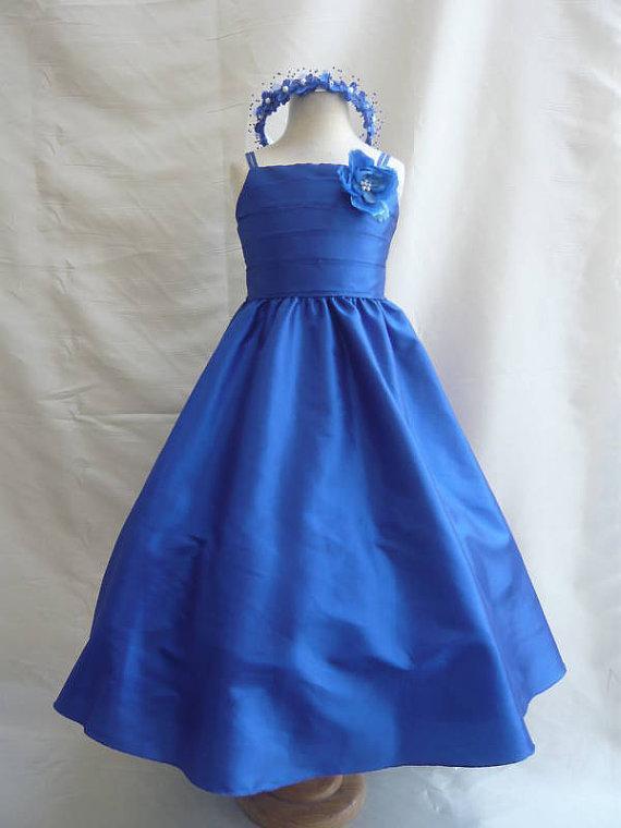 6abf526404 Flower Girl Dresses BLUE ROYAL Wedding Easter Junior Bridesmaid For  Children Toddler Kids Teen Girls Toddler Girl Dress Beautiful Dress For Girl  From ...