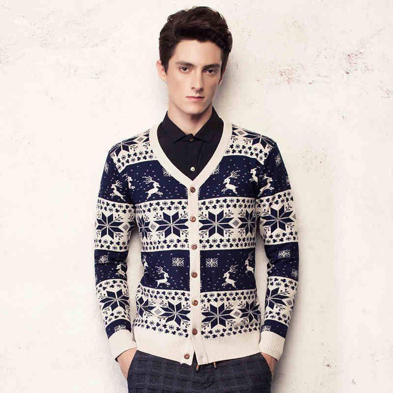 2018 2015 New Men Sweaters Christmas Short Stitching Cardigan Thin ...
