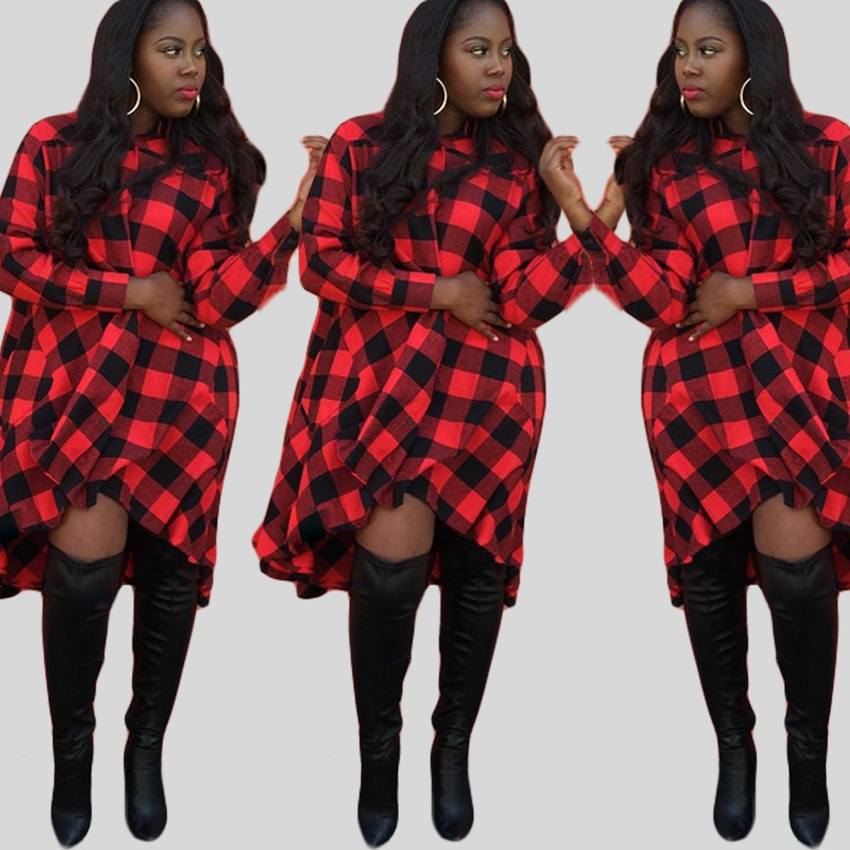 3xl Women Leisure Plus Size Dress Red Plaid Full Sleeve Knee ...