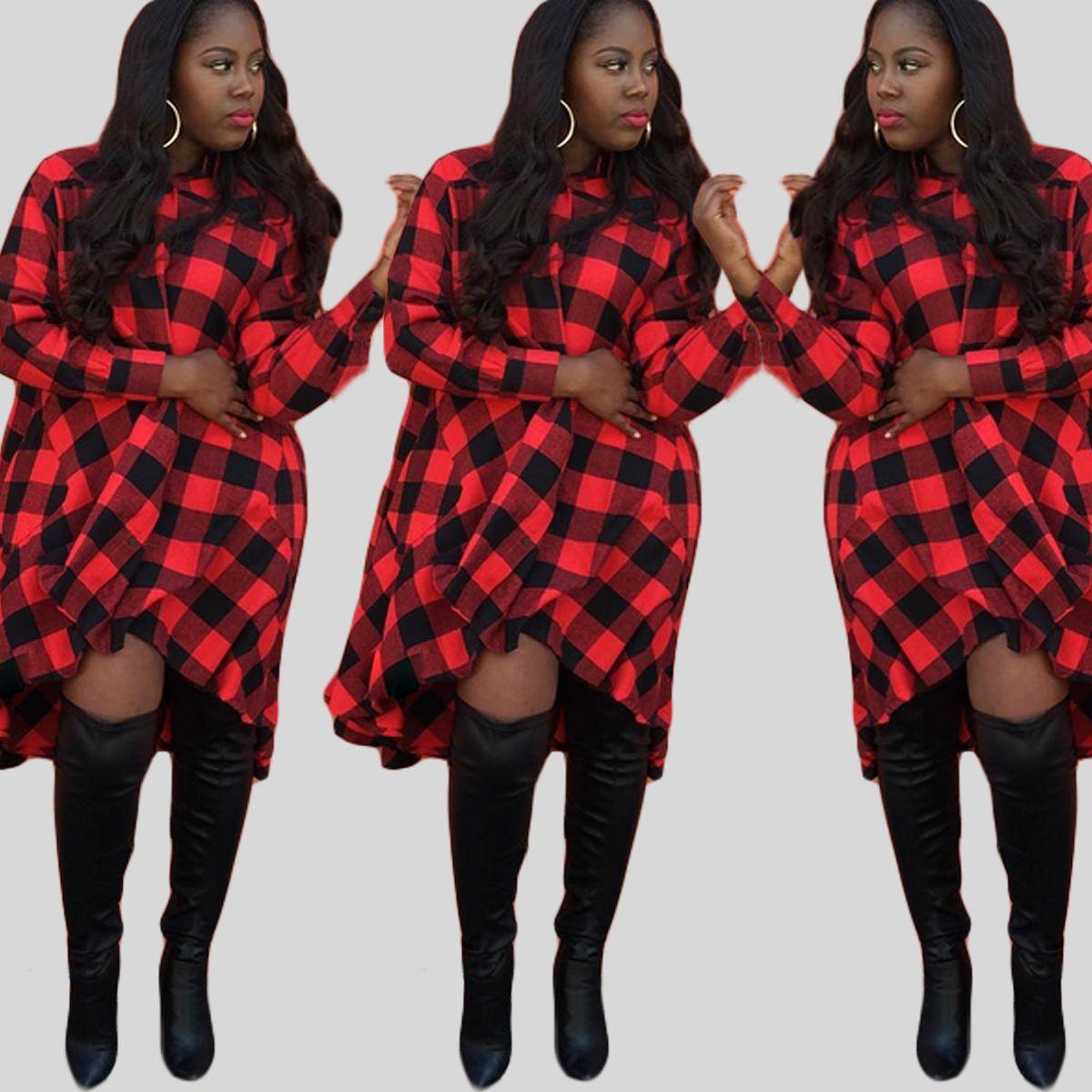 Black t shirt dress knee length - 3xl Women Leisure Plus Size Dress Red Plaid Full Sleeve Knee Length T Shirt Dress Oversize Dresses Vestidos Hot Styles Girls Dresses Gown From Annieyu