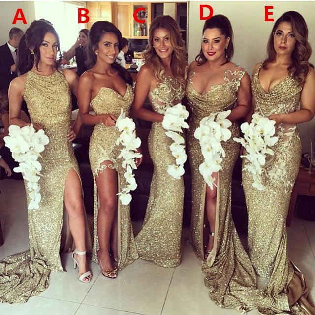 2018 섹시한 플러스 사이즈 골드 스팽글 반짝임 들러리 드레스 들러리 가운에 대한 가운 Demoiselle 신부 파티 파티 드레스