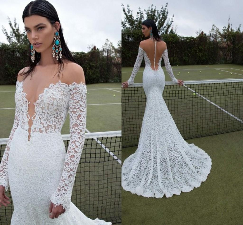 2015 sexy berta wedding dresses long sleeve lace bridal gowns sexy
