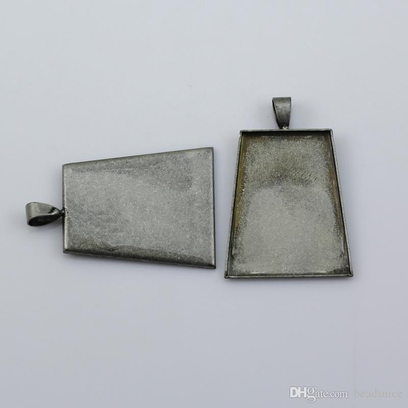 Beadsnice brass bezel pendant trapezoid photo tray bronze base setting for cabochons nickel free and lead free ID 5639