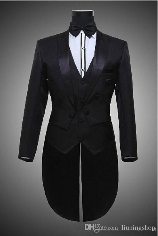 Hot 2016 Tailcoat Noivo Smoking Melhor Homem Padrinhos Homens Ternos De Casamento Notch Lapela Desempenho Terno Preto Branco Jacket + Pants + Tie + Vest 652