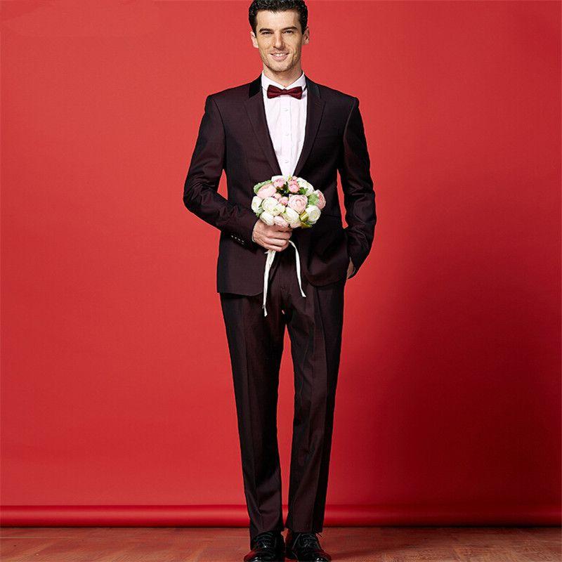 Wine Red Suit Suit The Groom Wedding Fashion Men\'S Wedding Suit Suit ...