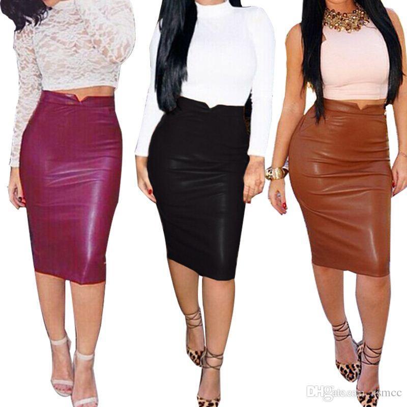 2016 Winter Autumn Women Pu Leather Skirt High Waist Pencil Skirts ...