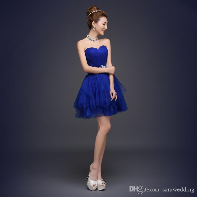 2016 новый королевский синий бальное платье милая бисером короткие тюль платье невесты элегантный платье невесты 4 стиль A-D