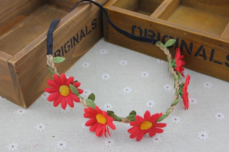 장식 해바라기 머리 Garlands 보헤미안 해변 Headbands 신부 웨딩 헤어 밴드 Bridal 화환 Flowers Rattan Headwear