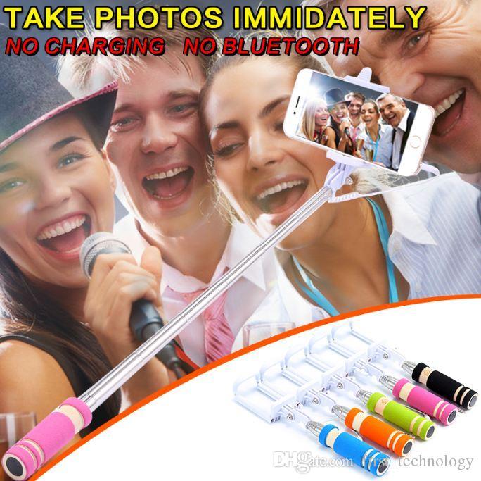미니 접이식 자기 스틱 모노 포드 유선 셀카 스틱 케이블 확장 가능한 내장 된 셔터 스틱 아이폰 X 8 7 6 삼성 화웨이 샤오 미 스틱