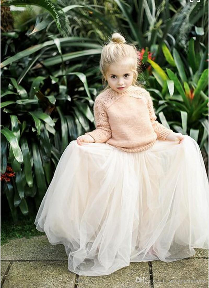 2016 Lovely Baby Girls Tulle Skirts White Princess Tutu Ball Gown Flower Girl Party Dresses For Wedding Cheap Children's Long Skirts