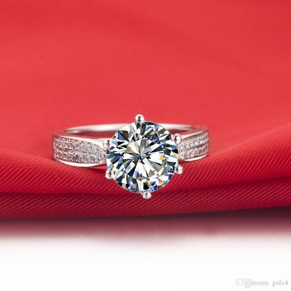 3 ct synthetic diamond rings sterling silver wedding bands for women engagement rings for women white gold 18k drop shipping