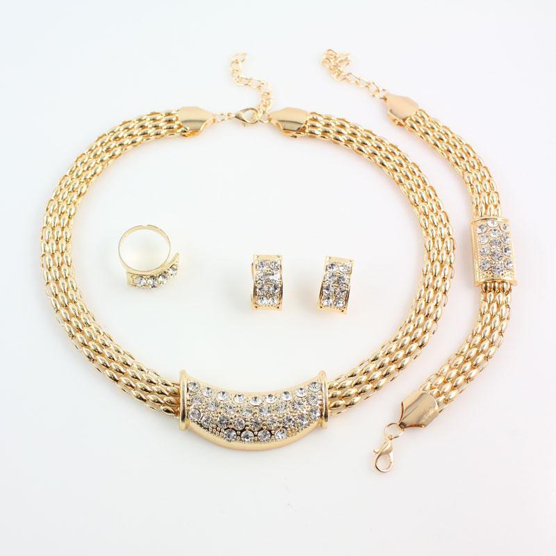 Moda Europa Rhinestone Conjuntos de Jóias de Casamento de Ouro / Banhado A Prata Traje Africano Acessórios De Cristal Austríaco Para As Mulheres