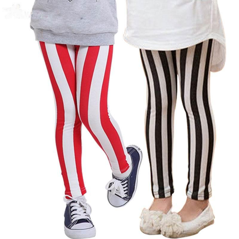 2017 2015 Girls Fashion Wide Striped Leggings 3y 8y Kids Wholesale ...