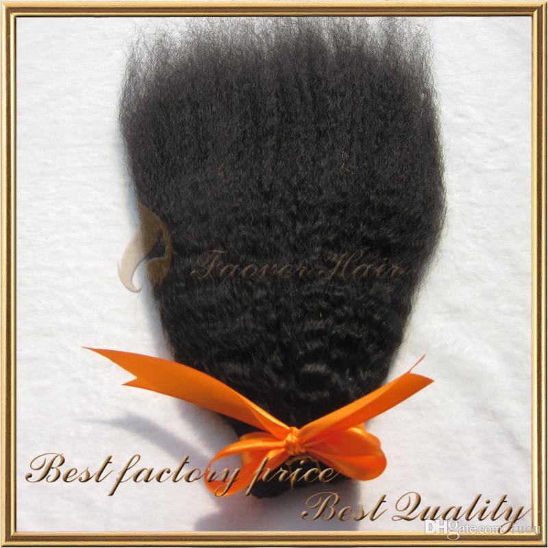 Top Brasilianska Virgin Hair Natural Color Kinky Straight Coarse Yaki 3 st Hårväv med Lace Top Stäng 4st