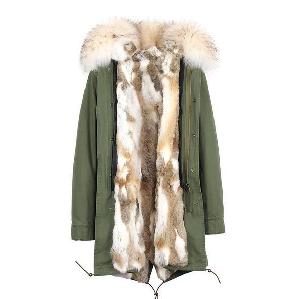 Grama de pele de coelho Costura forro longo Shell lavado verde exército jaquetas de lona Jazzevar marca pele branca guarnição parka neve