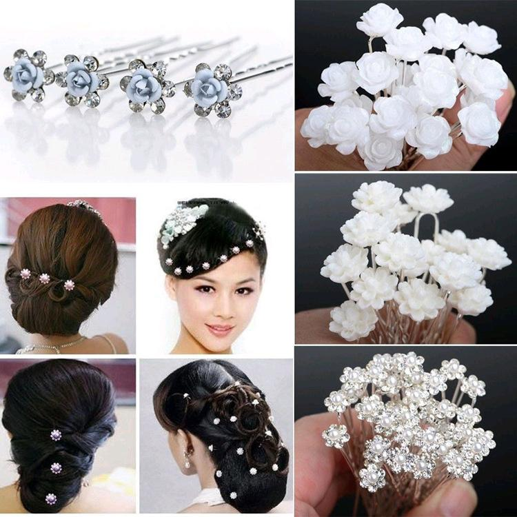 Mixed 12 Styles Wedding Bridal Pearl Flower Women Crystal Hair Clips Pins Bridesmaid Hair Accessories