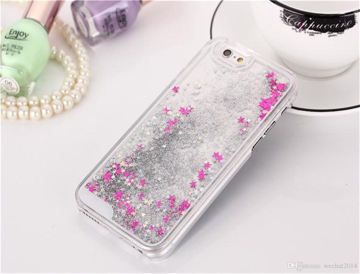 Glitter Bling Stars Dynamic Liquid Hard PC Clear Crystal Case cubierta trasera para iPhone 4S 5 5S 6 6s más Galaxy S5 S6 Note 2 3 4