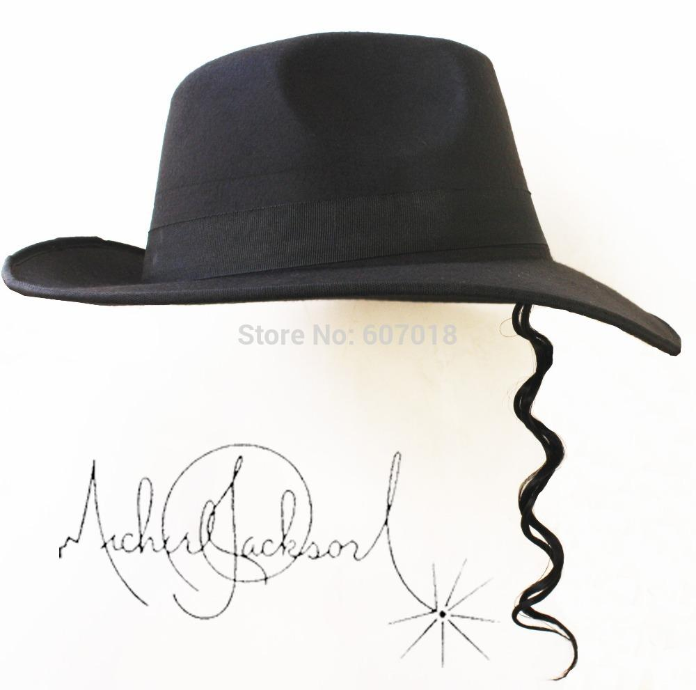 ced8fa936b3cd 2019 MICHAEL JACKSON MJ Black Hats Classic Fedora With Few Of Wig Frog Big  Size Silver Sunglasses From Wo007