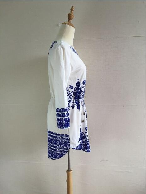 Женщины платья лето 2015 мода новый сексуальный мини цифровой печати женщин синий и белый с длинными рукавами платье шифон женские повседневные платья