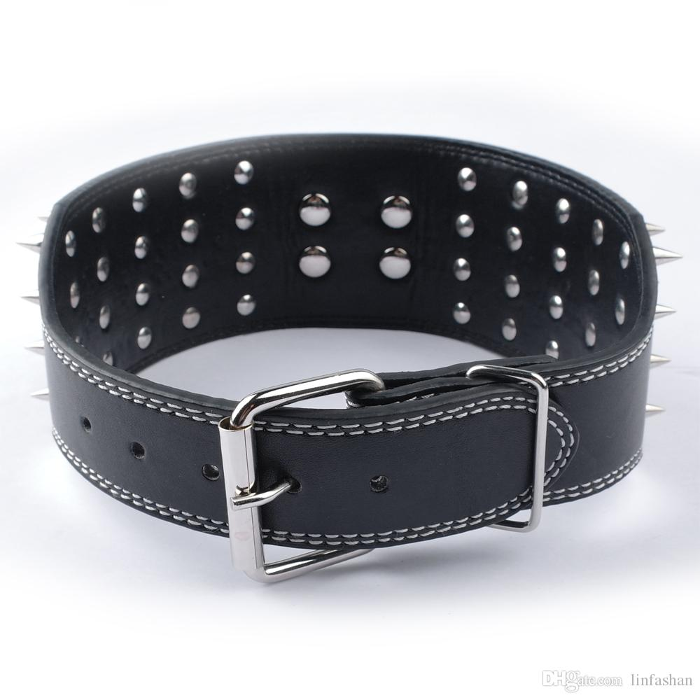Small MOQ:3inch Wide Black Leather Dog Collars 4 Rows Spiked Dog Collars for Large Dogs