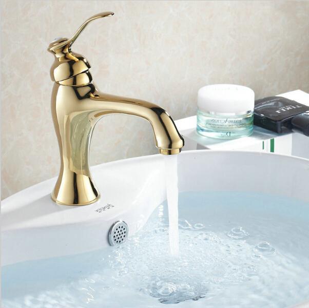 Großhandel Badezimmer Waschbecken Wasserhahn Messing Goldene Bad ...
