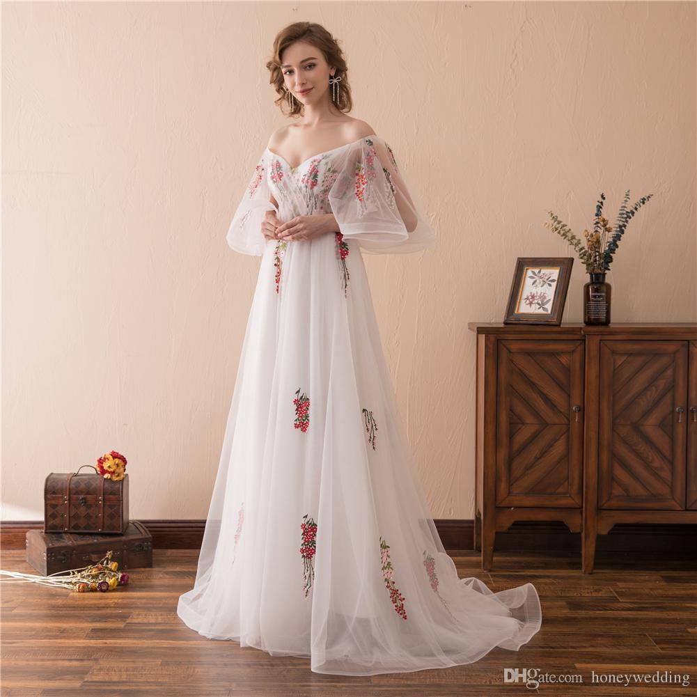 Großhandel Blumen Lange Abendkleider Günstige 16 Schulterfrei Frauen  Abendkleider Abendkleid Elegante Promi Runway Red Carpet Dress Von