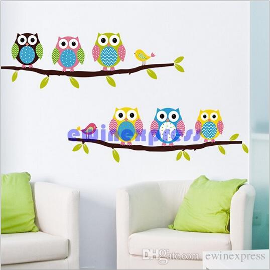 Yeni Kaliteli Freeship Renkli Baykuş Kuş Ağacı Şubesi Duvar Çıkartmaları Çıkarılabilir Çıkartmalar dekor çocuk kreş