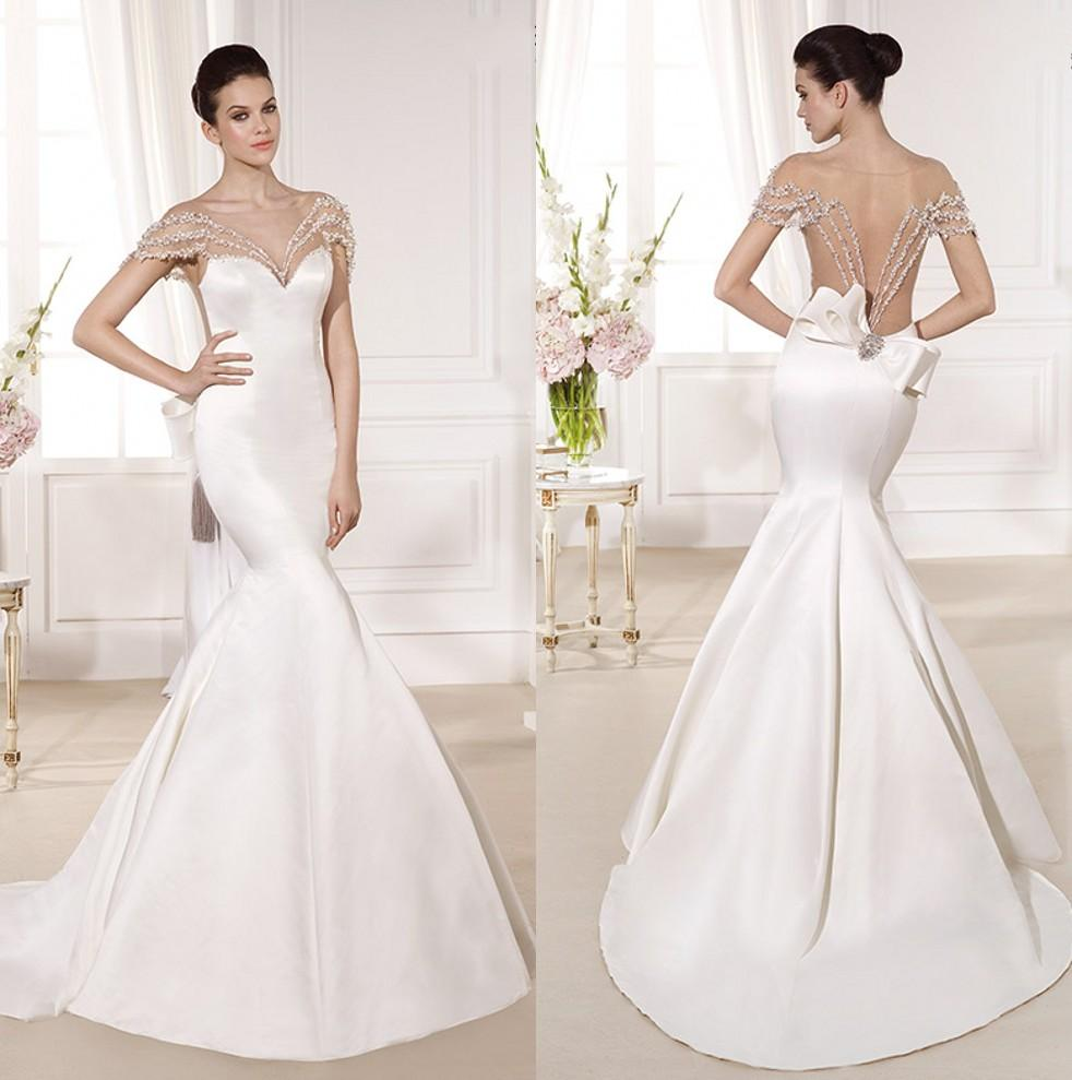 Ivory Satin Mermaid Wedding Gowns Sheer Neck Cap Sleeves Beading ...