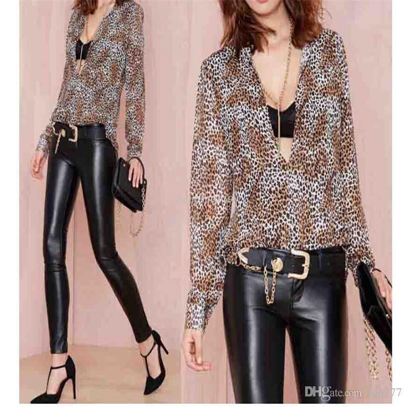 2019 Modern Spring Summer Sexy Women Long Sleeve Chiffon Leopard Tops  Blouse Shirts Ladies Blusas Clothes S 2f96474868cc