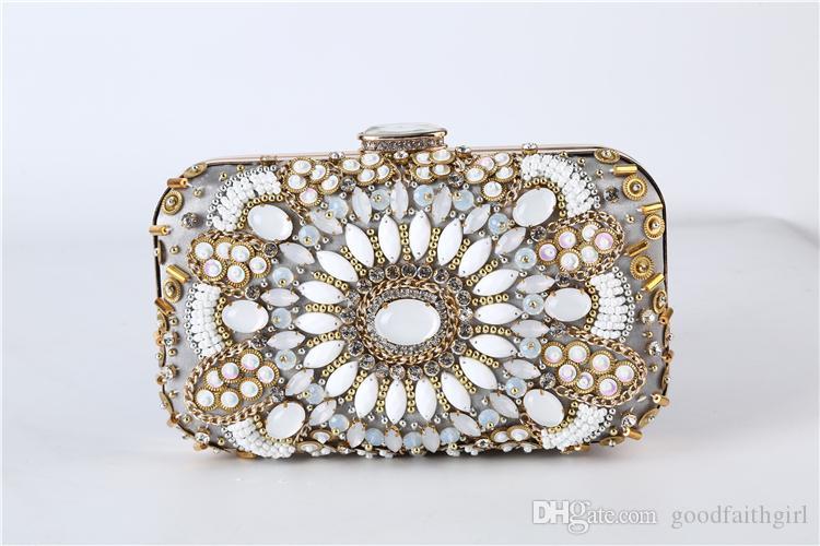 2017 Nouvelle arrivée à la main sac de soirée perles Vintage mariage club Party sac à main nuptiale d'embrayage Prom bourse de portefeuille de cas fourre-tout sac cosmétique