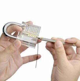Transparent Practice Padlocks with Unlocking Lock Pick Set Key Extractor Tool Lock Pick Tools door opener