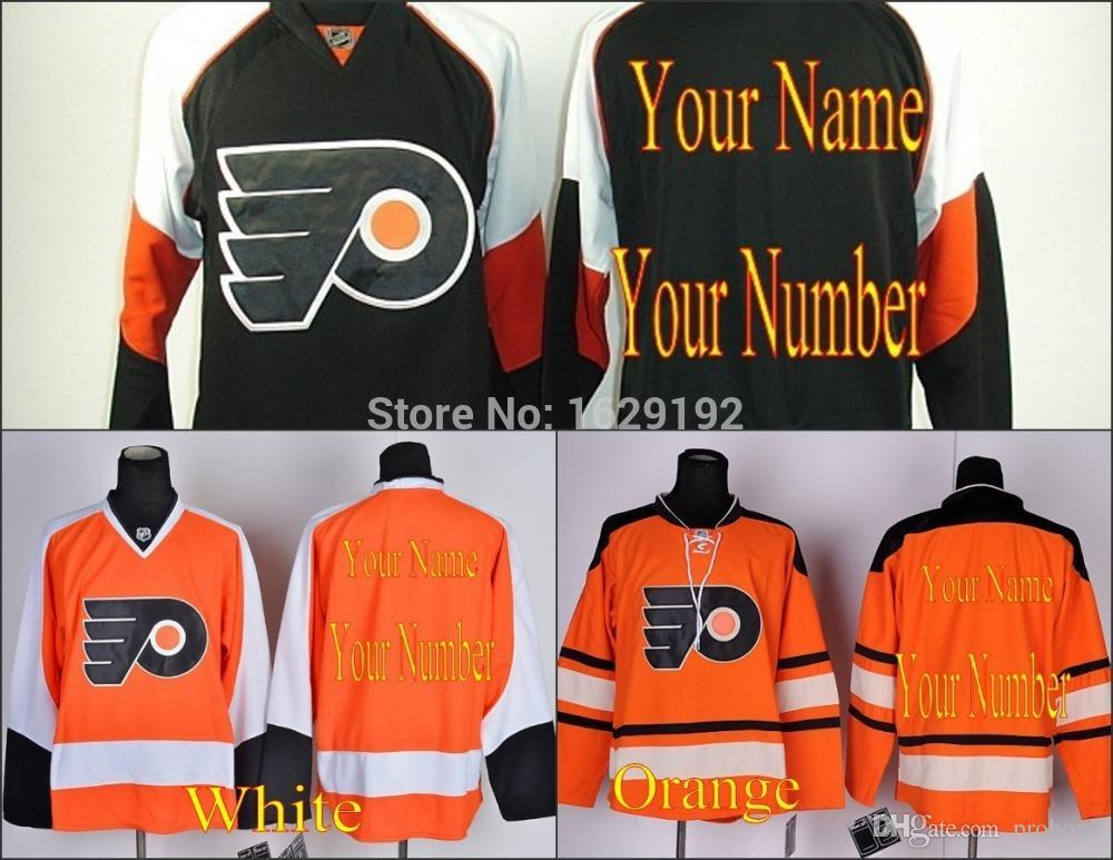 buy online 9b096 b2b95 Custom Philadelphia Flyers Stitched Orange White Black Personalized Ice  Hockey Jerseys embroidered Your Name Number Logos Cheap