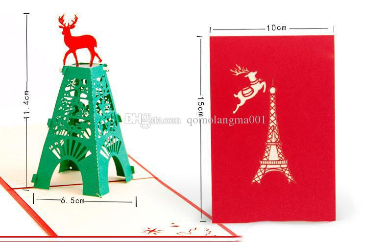 New Christmas 3D Pop Up Cards Christmas Deer Handmade Kirigami & Origami Greeting Cards hot