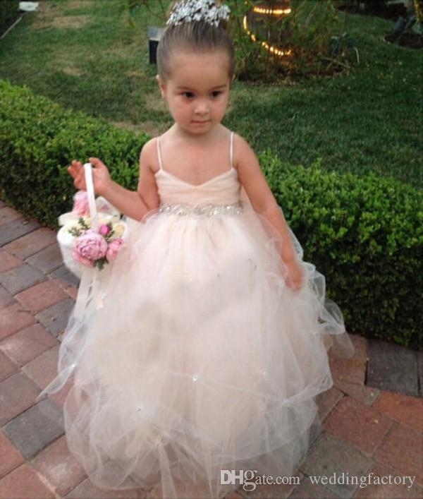 Flower Girls Dresses for Weddings Girls Pageant Gowns Formal Wear Puff Soft Tulle White Ivory Champagne Kids Princess girl Dress Crystal Bow