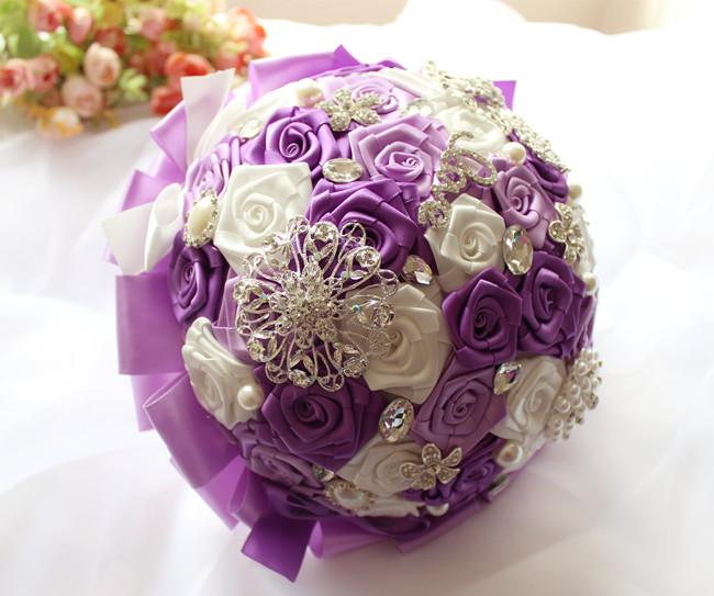 Custom Decortions Wedding Supplies Artificial Bouquet Bridal Holding Flowers Favors Pearl Beads Rose Bouquets