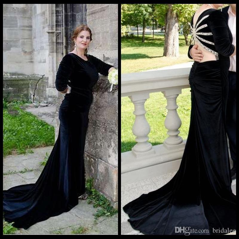 2016 clásico terciopelo negro sirena vestidos de baile Sexy Bling moldeado espalda vestidos formales de las mujeres noche de fiesta con manga larga