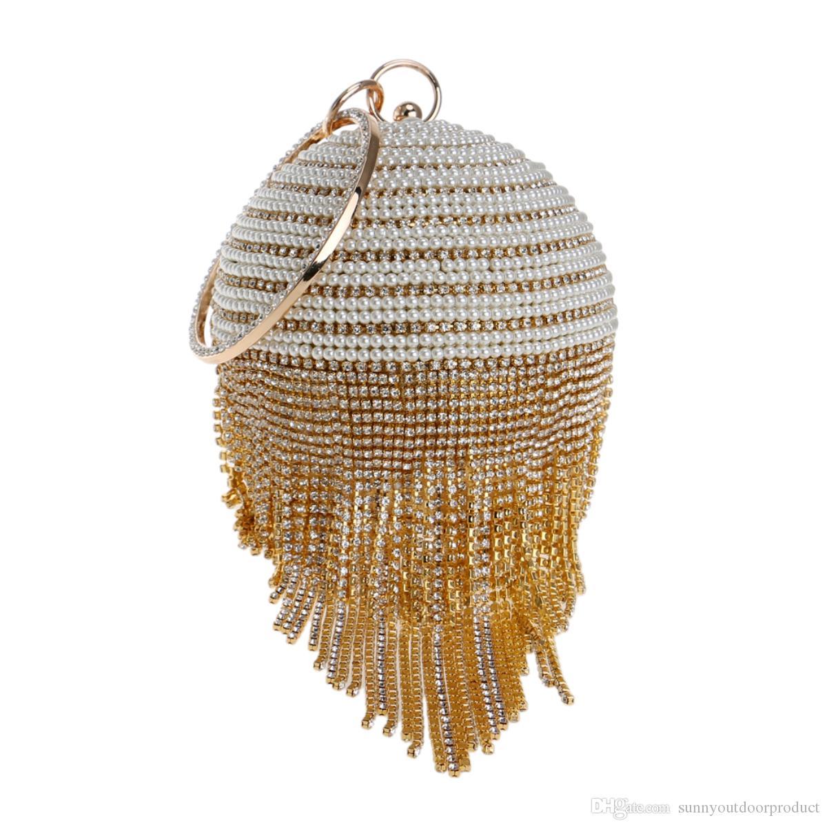 ee3ad35bff New Fashion Women Circular Rhinestone Diamond Tassel Beaded Evening Bag  Lady Wristlet Clutch Bag Handbag Purse For Wedding Party Dinner