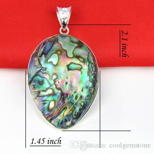 Hurtownie 3 sztuk / partia Najnowszy Naturalny Owalne Abalone Shell Gemstone 925 Sterling Silver Naszyjniki Wisiorek Daily Biżuteria