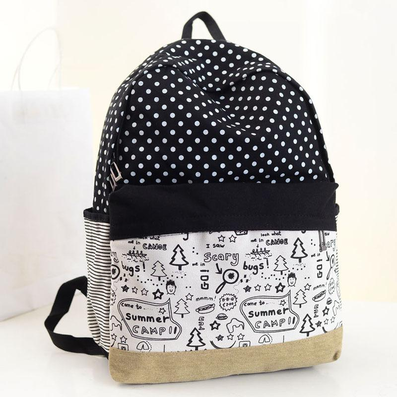 348a10226a2f Pretty Dots Design Summer Camp Canvas Fashionable Women Backpack Middle  School Student Book Bag Leisure Backpack Small Backpacks Vintage Rucksack  From ...