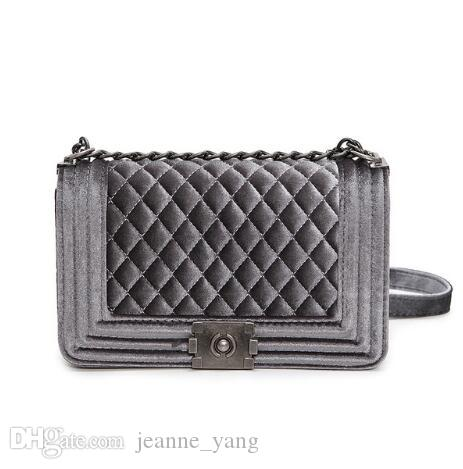 Big Handbag Quilted Chain Bag Blue Velvet Women Bags Pochette Sac