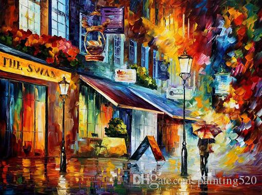 100% Pure hand painted oil modern simple home decoration style high quality color canvas knife painting JL093