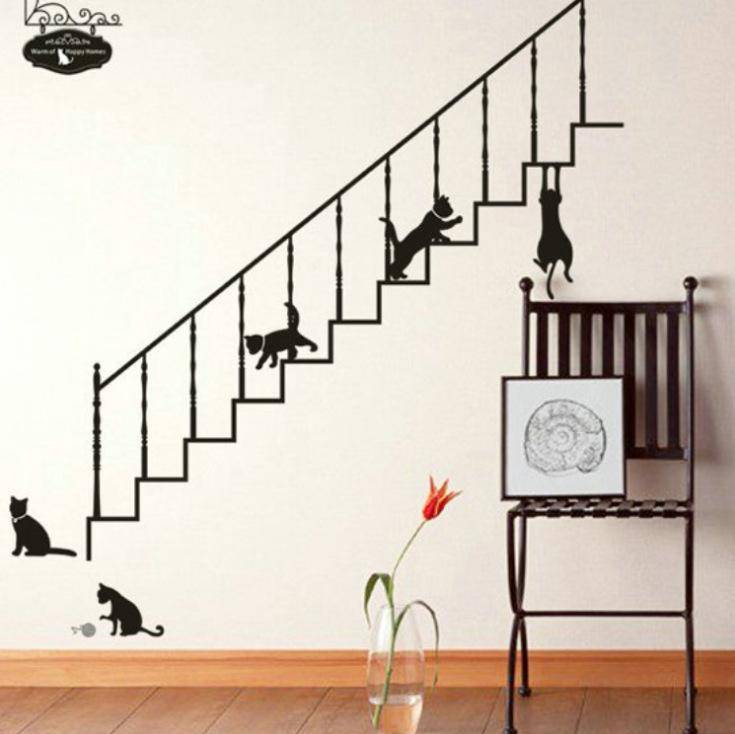 Hot Sale Cute Stairs Black Cat Wall Stickers For Children