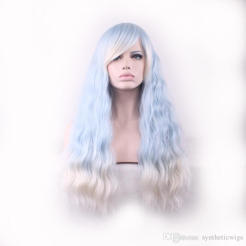 WoodFestival Ombre Wig with Bangs Women Blue Gradient White Harajuku Long  Corn Fluffy Curly Hair Wigs Ladies Kinky Curly Synthetic Fiber Wig Ombre Wig  with ... a78695931a