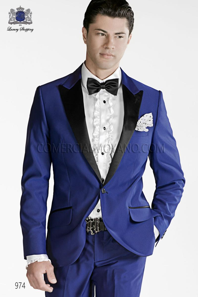 Italian Suit 2015 Royal Blue Formal Suits With Black Collar Jacket ...