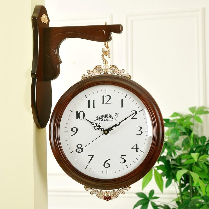 King Chinese On Both Sides Of Double Sided Digital Clock Wall Clock Wood Living Room European