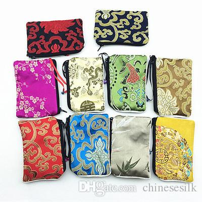 Small Zipper Silk Satin Gift Bags Jewellery Pouch Bell Coin Purse Card Holders High Quality Cloth Packaging Pocket with Lining
