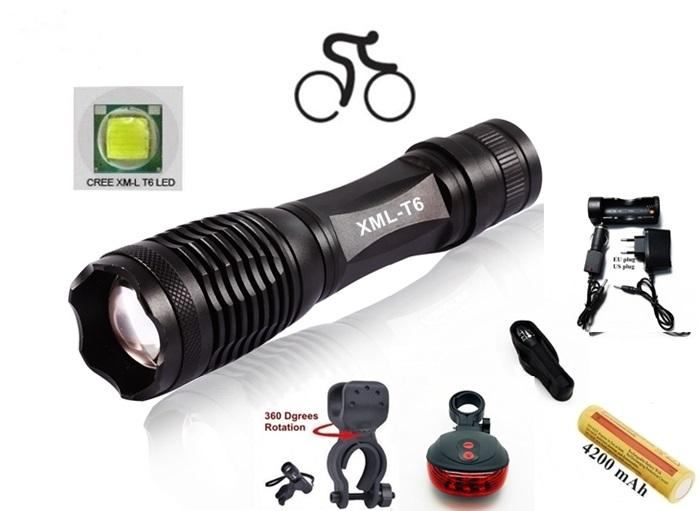 ALONEFIRE E007 CREE XM-L T6 LED 2000Lumens Zoom bicycle bike Cycling light Flashlight Torch with 1x18650 Battery/charger/Laser Tail lights