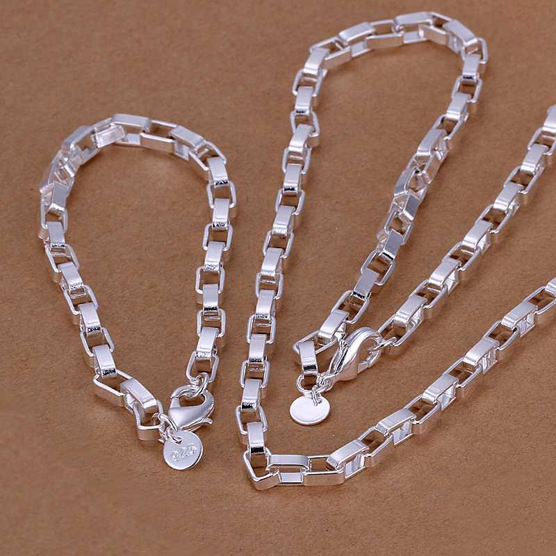 Factory price top quaility 925 sterling silver jewery sets necklace bracelet bangle earring ring free shipping SMTS126
