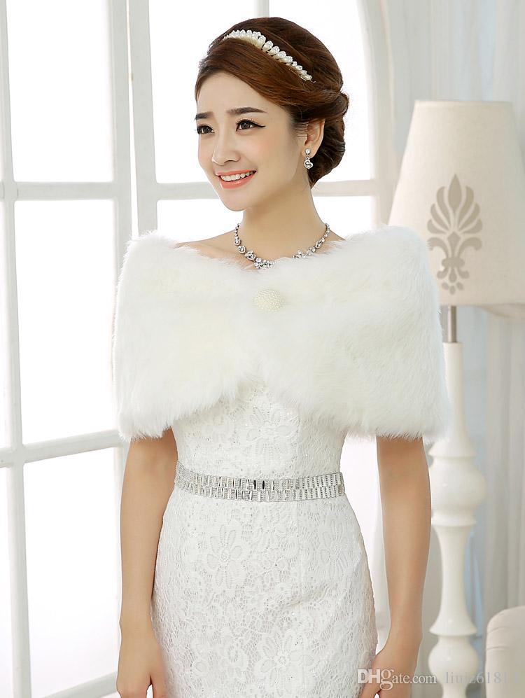 New Designer Simple White Faux Fur Pearl Short Wraps Cape Shrug Shawl Bridal Wraps Jackets Fashion Modern Wedding Bridal Accessories